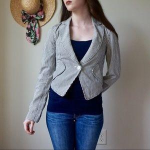 Armani Exchange Women's Navy Pinstripe Blazer S